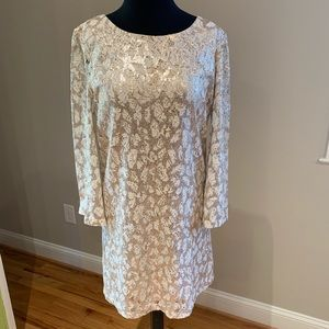 Benetton cream & gold lace sequin dress Sz S
